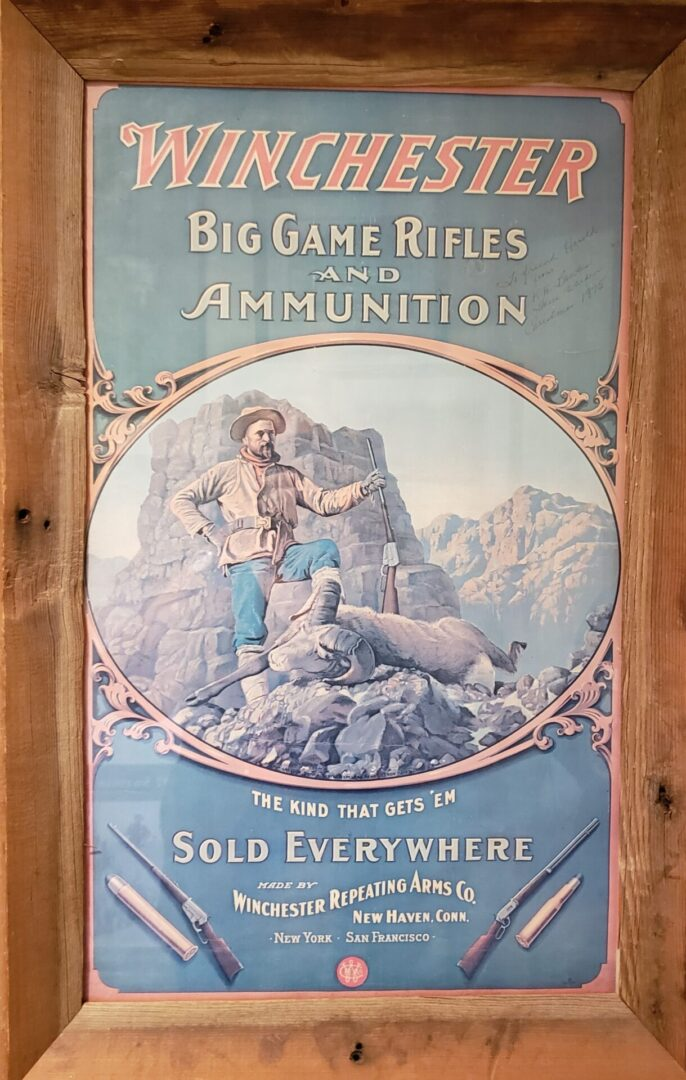 Framed poster of Winchester Big Games Rifles and Ammunition