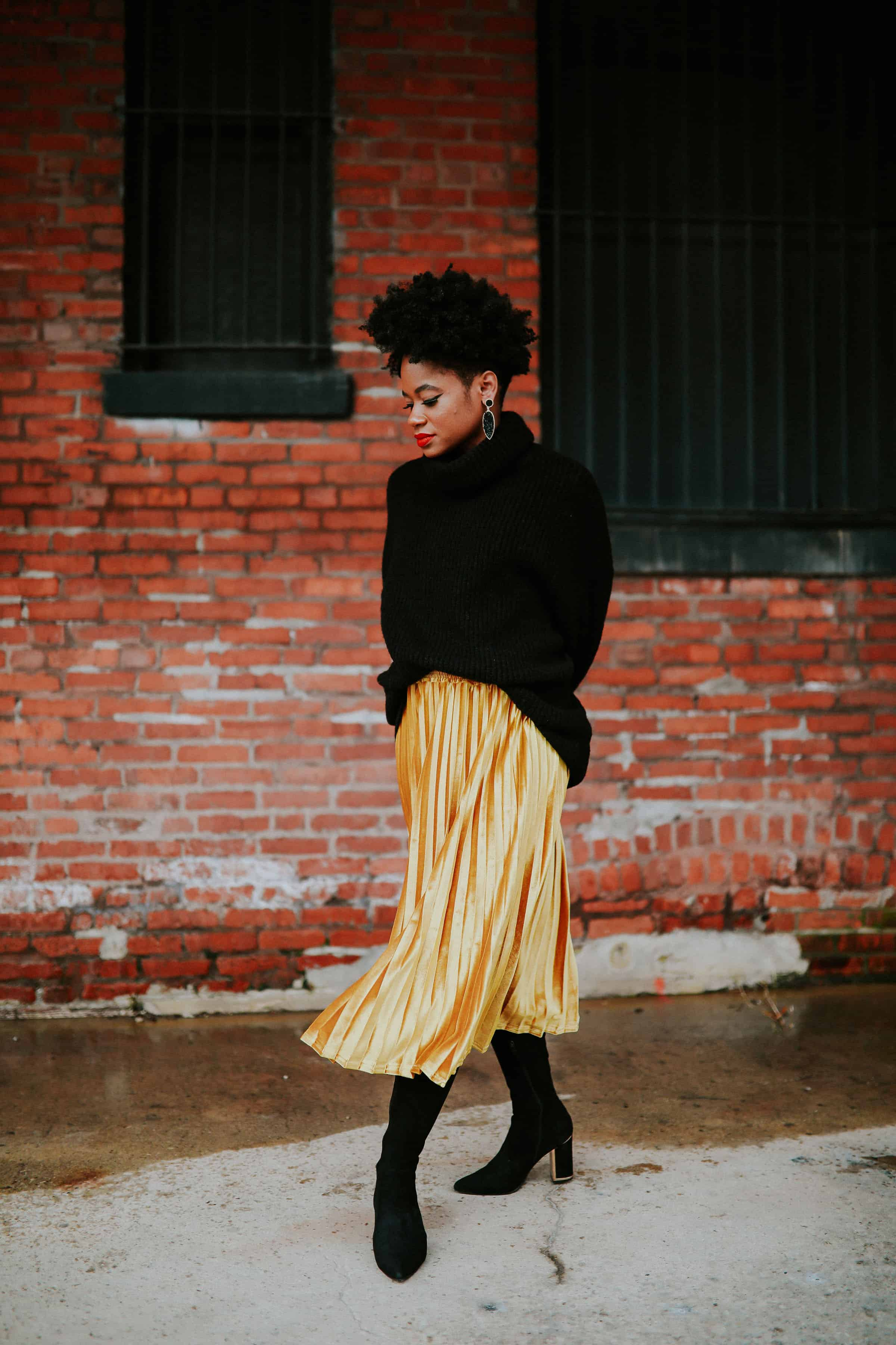 Black Zara Turtleneck and Gold Target Skirt 2
