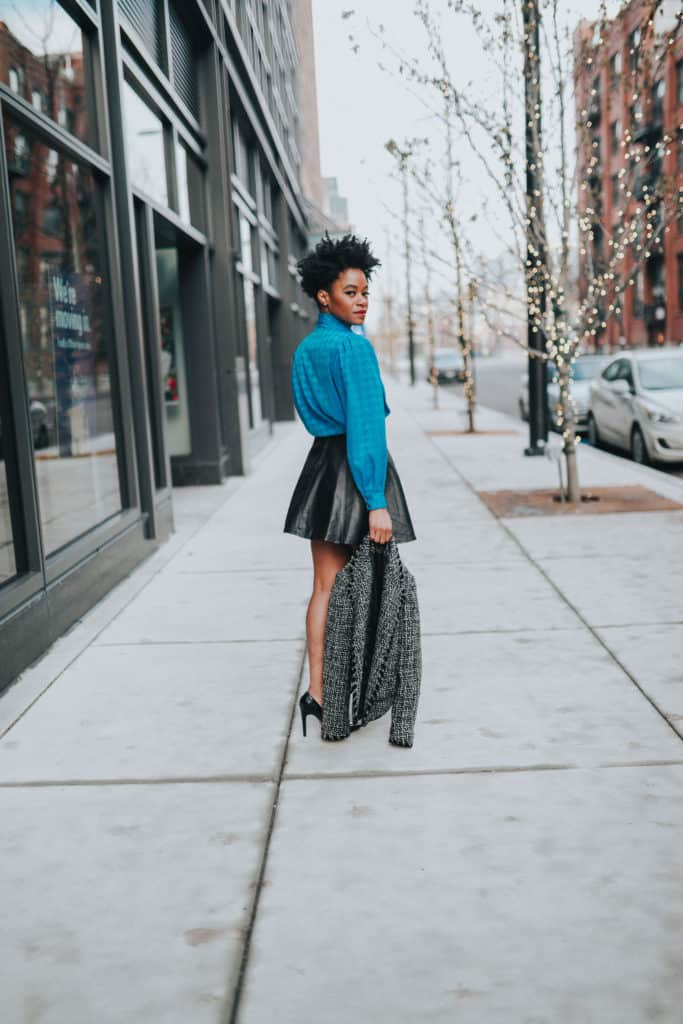 Blue blouse and leather skirt 1