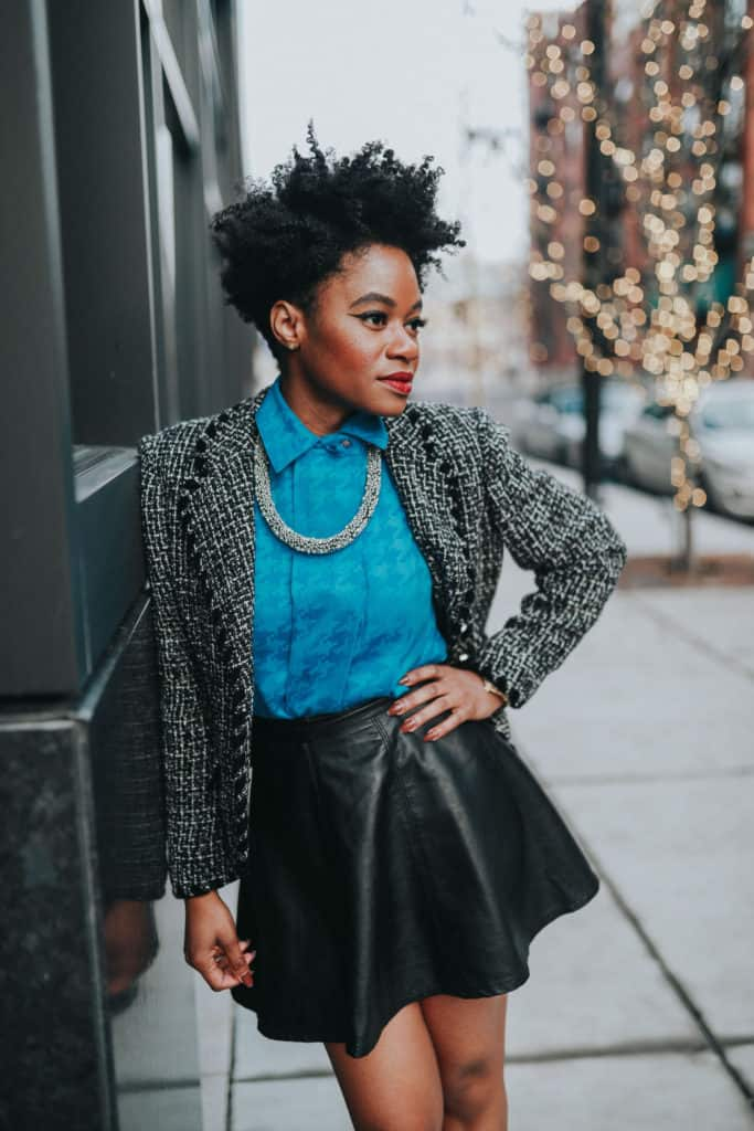 Blue blouse and tweed blazer 4