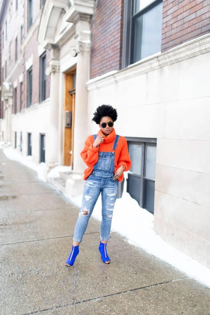 Orange H&M Sweater and Modcloth Overalls 4