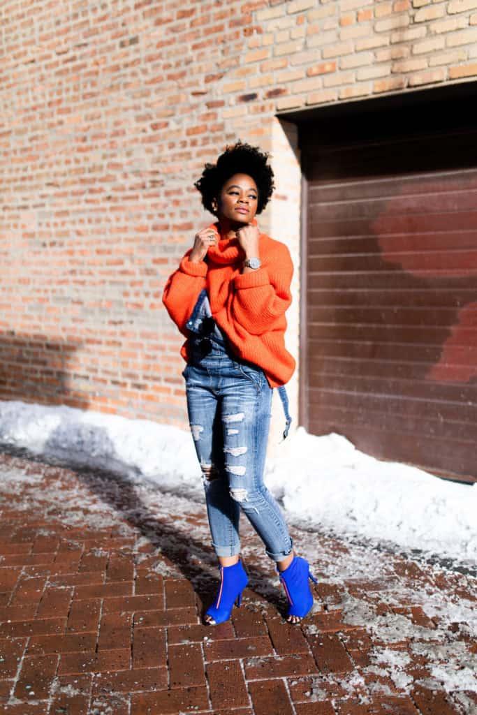 Orange H&M Sweater and Modcloth Overalls 8