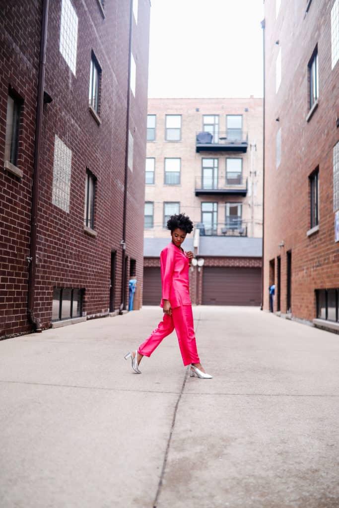Vintage pink silk suit