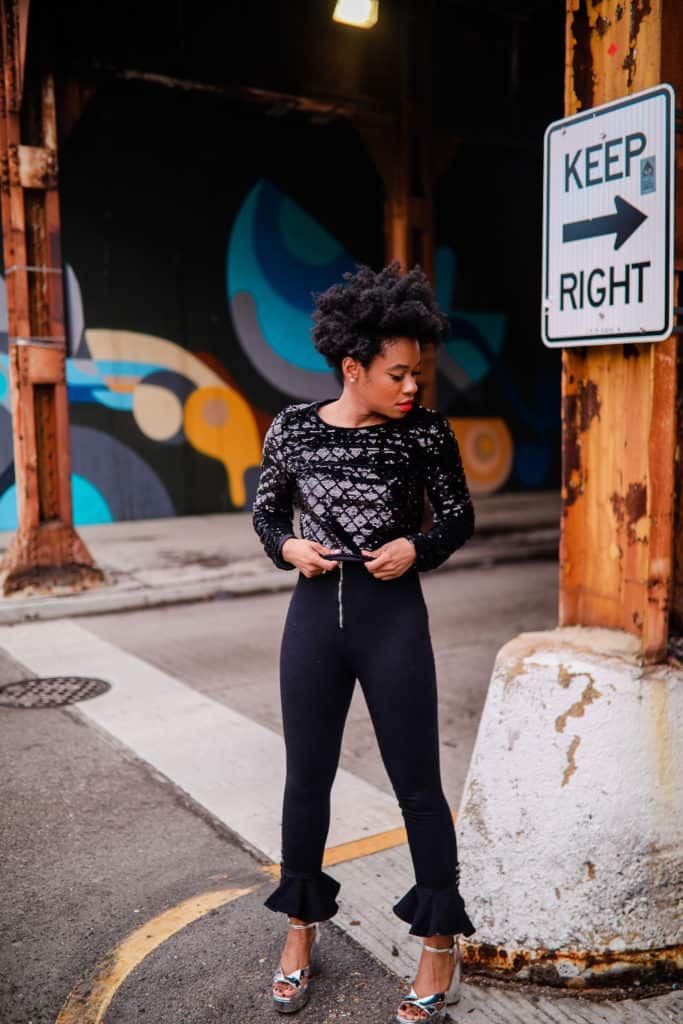 Black Sparkle Top and Cropped Black Jeans