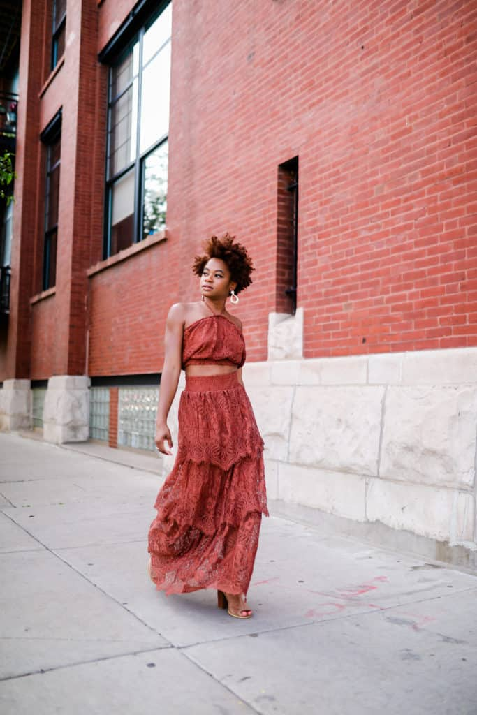 Brown lace set