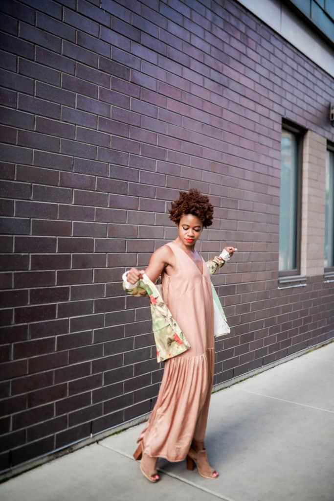 Floral blazer and beige dress