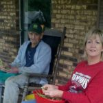 Shelling peas with daddy on his porch