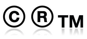 Copyright, trademark vector icons set