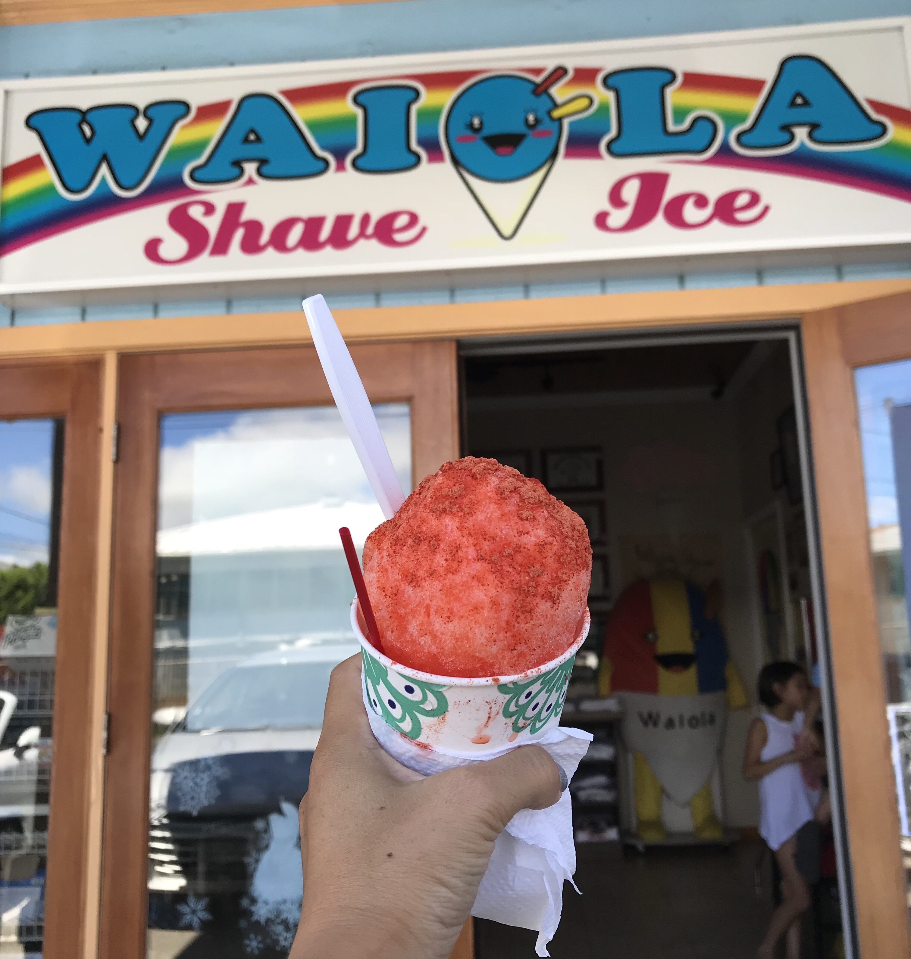 Strawberry Lychee Shave Ice at Waiola Shave Ice