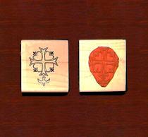 Huguenot Cross Open Rubber Stamp