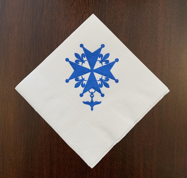 Huguenot Cross Napkins - White