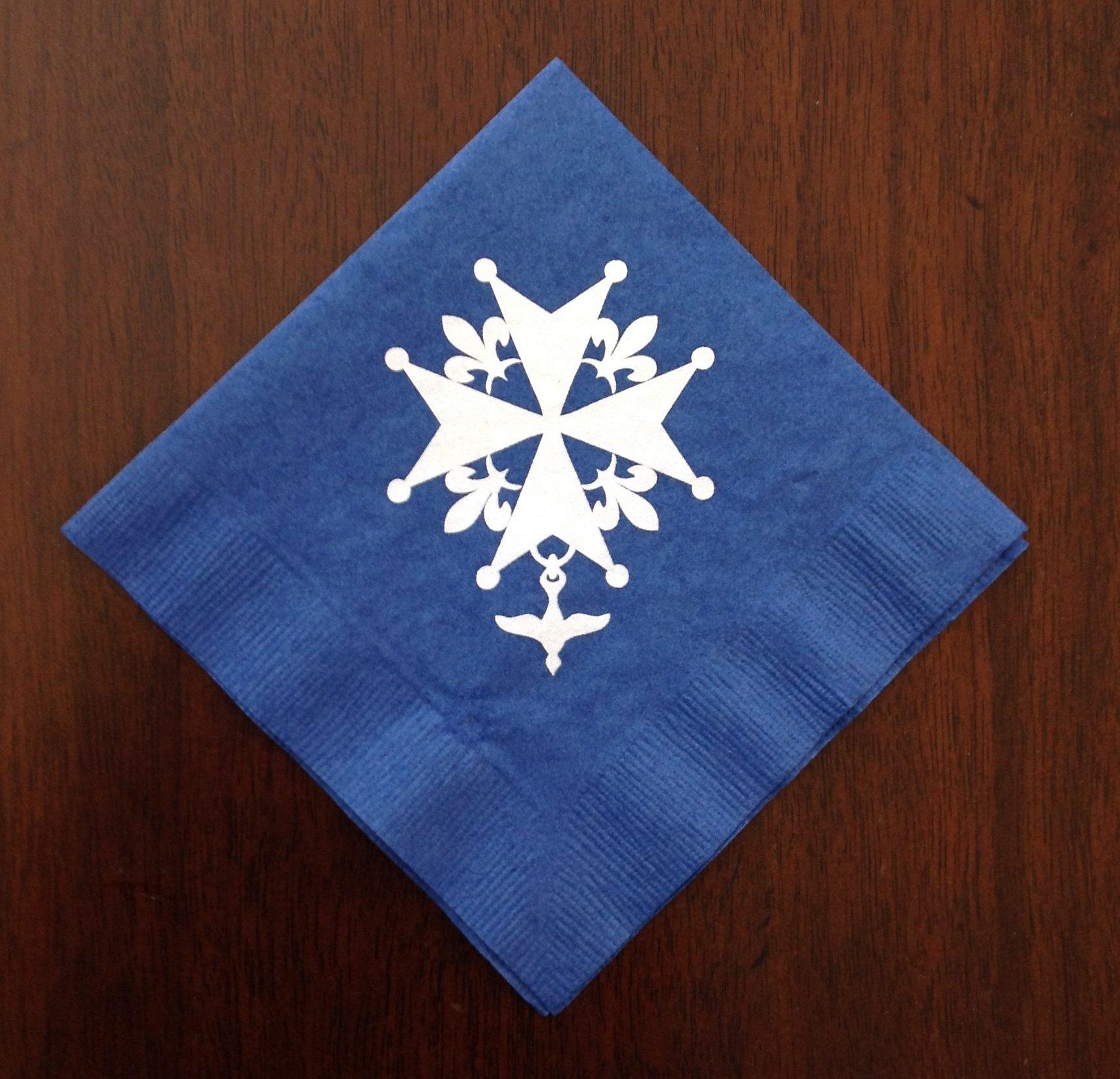Huguenot Cross Napkins - Blue