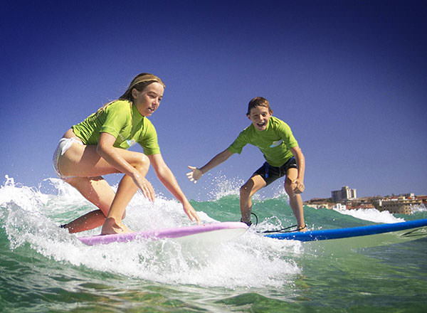 Image of a private surf lesson at Bondi on a Sydney Sightseeing Tour