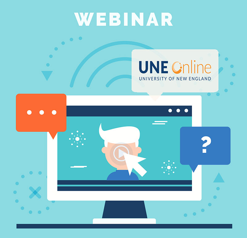 An illustration of a laptop user clicking on a UNE Online webinar for predictive analytics in healthcare