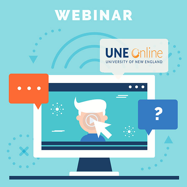 An illustration of a laptop user clicking on a UNE Online webinar for predictive analytics
