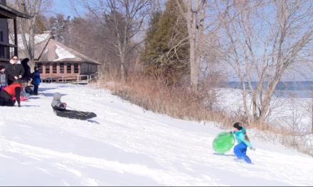 Families Flock to Snow Party on Lake Huron