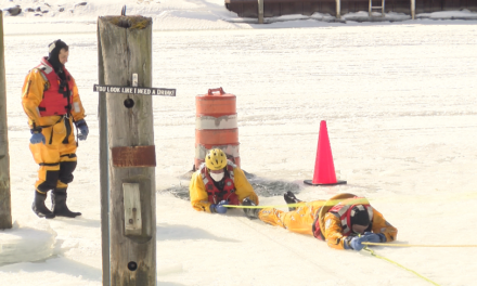 Ice Rescue Effort on the Black River for Joint Training