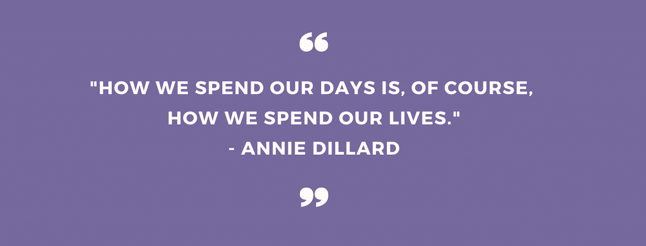 """""""How we spend our days is, of course, how we spend our lives."""" Annie Dillard"""