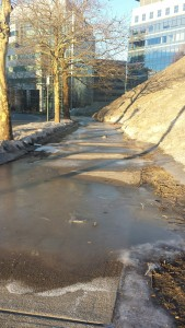 The glacial flows from Mt Kendall are a menace to pedestrians.