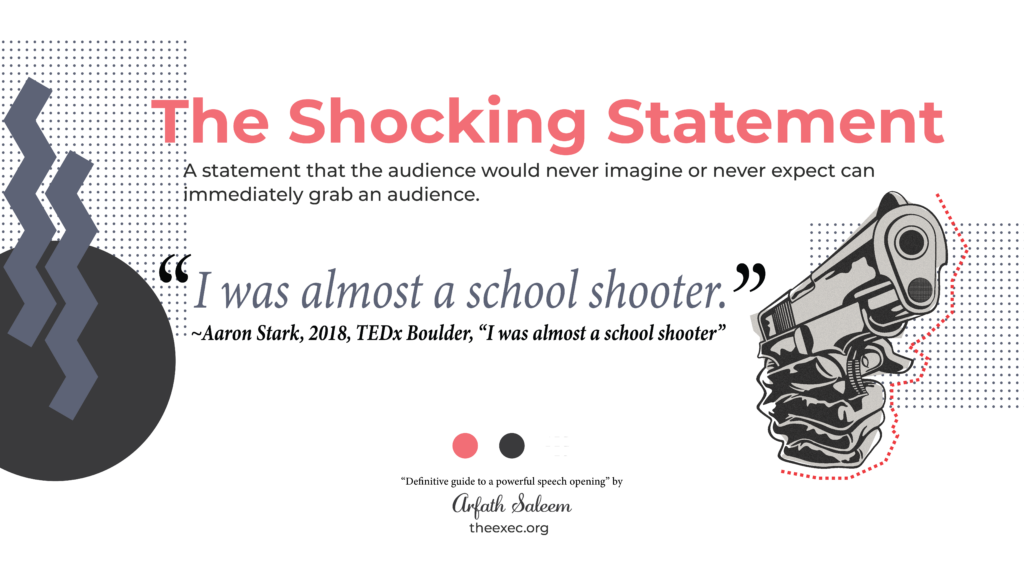 """use a shocking statement - Aron Stark 2018 Tedx """"I was almost a school shooter"""""""