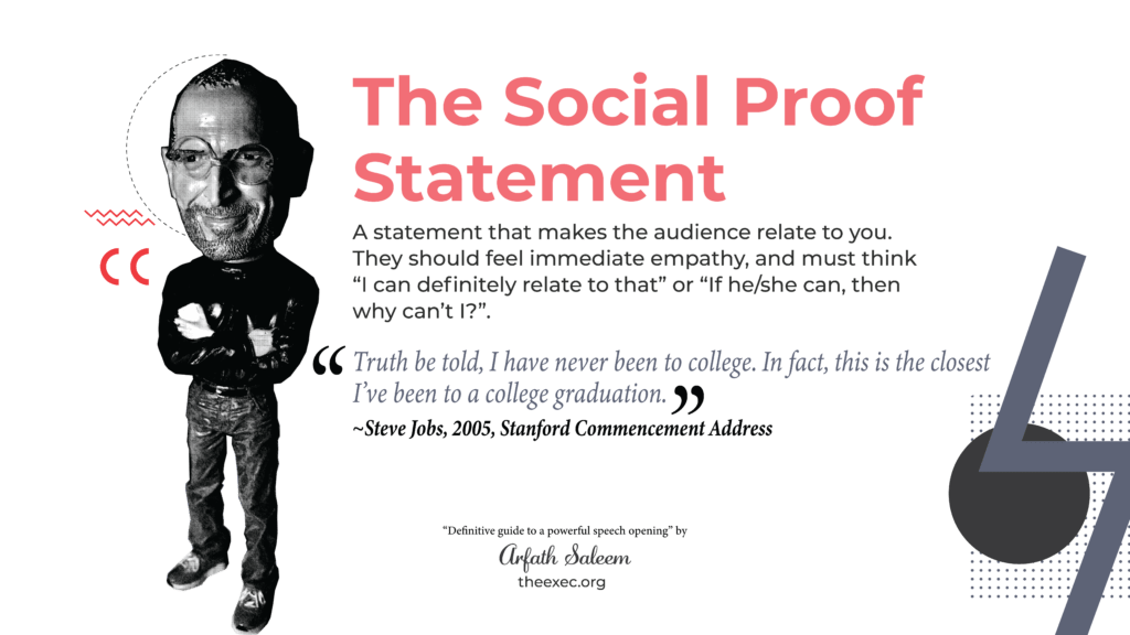 open with a social proof statement like Steve Jobs stanford commencement address