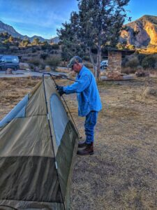 setting up a tent in the chisos basin campgrounds