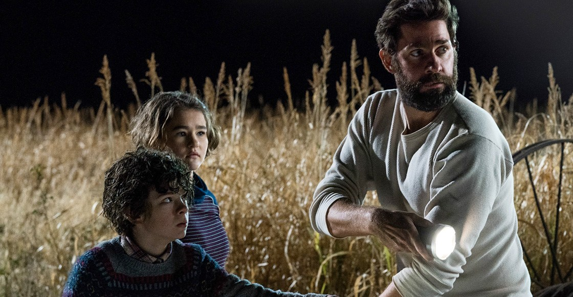 Left to right: Noah Jupe plays Marcus Abbott, Millicent Simmonds plays Regan Abbott and John Krasinski plays Lee Abbott in A QUIET PLACE, from Paramount Pictures.