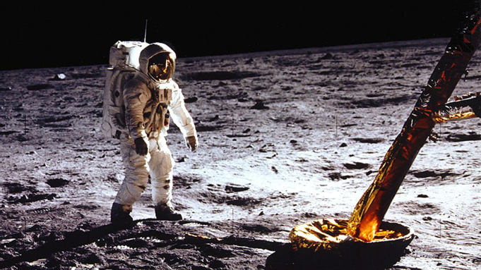 """MANDATORY CREDIT: NASA/Rex Features. Editorial use only Mandatory Credit: Photo by NASA/REX/Shutterstock (3683583c) (Real lunar mission image) Buzz Aldrin stands beside Lunar Module strut and probe Apollo 11 Moon landing mission - 1969 FULL COPY: http://www.rexfeatures.com/nanolink/oqps   These fascinating images might do little to dispel conspiracy theories that the 1969 moon landing was faked.  They feature Apollo 11 astronauts Neil Armstrong and Edwin (""""Buzz"""") Aldrin carrying out tasks on a clearly simulated lunar surface.  While the astronauts practice manoeuvres, including collecting soil samples, men in shirts and ties can be seen in the background casually observing the scene.  In fact, these are real training simulations carried out in Houston three months before the actually set foot on the moon.  The practice sessions were carried out over a number of days in April 1969 in Building 9 of the Texas-based U.S. space agency facility. The images were unearthed by tech website Gizmodo."""
