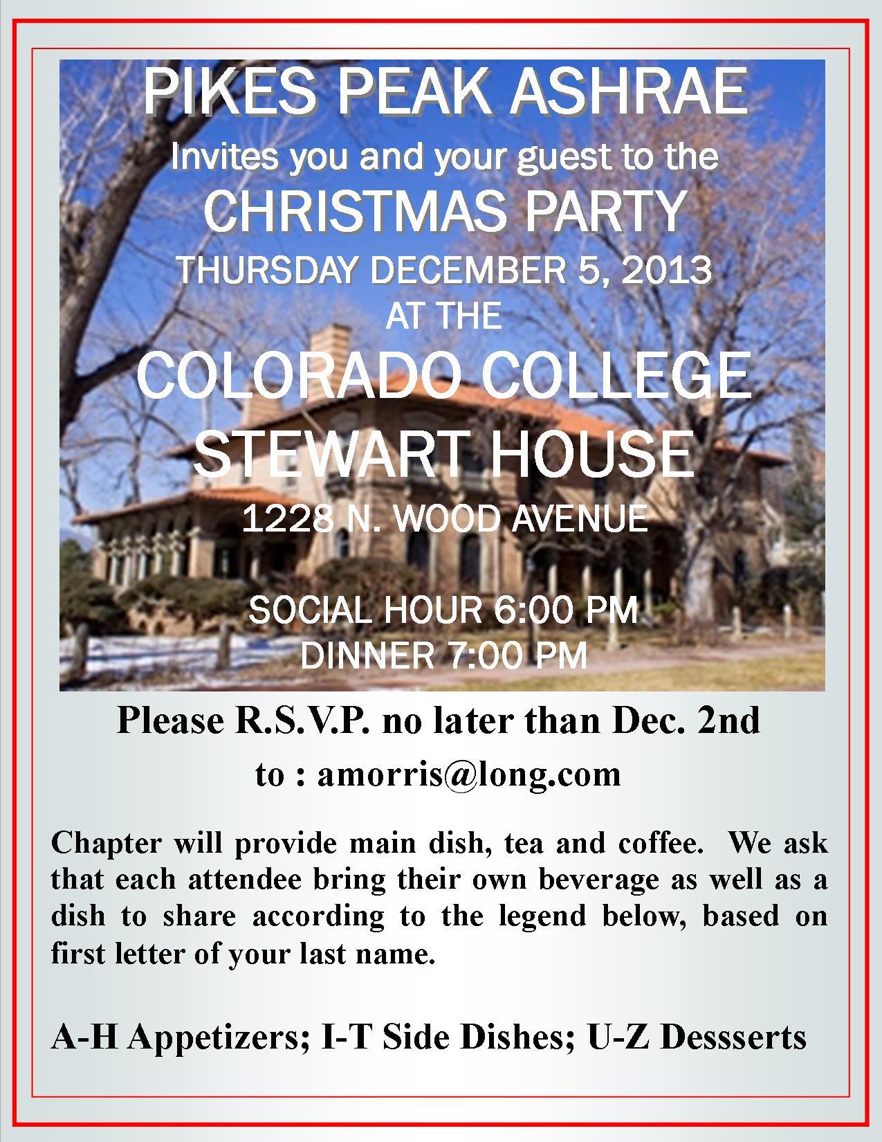 Pikes Peak ASHRAE Christmas Party 2013 Flyer