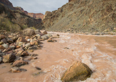 Looking downriver on the Colorado River and Hermit Rapids.