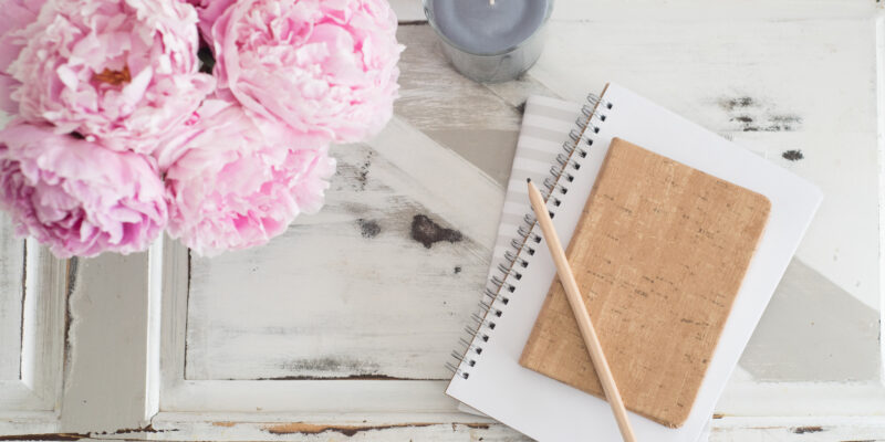 Ann Peck, this adoptee voice, pink peonies, candle and journal