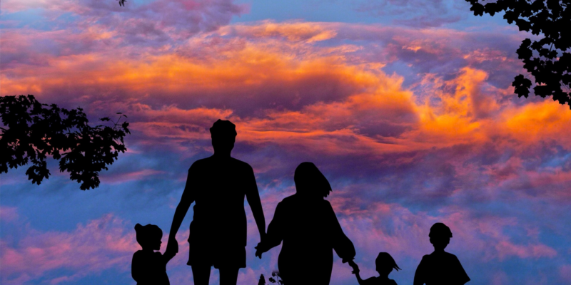 this adoptee voice sunset with silhouette of a family