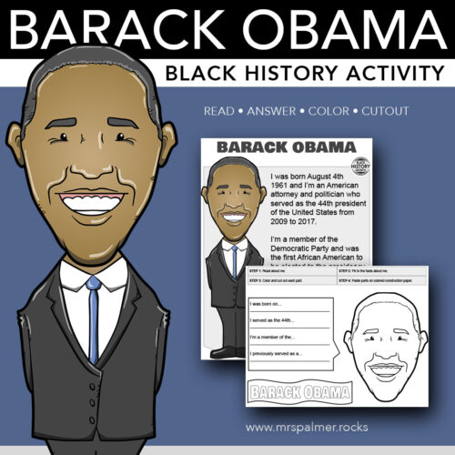 Barack Obama Big Head - Black History Activity