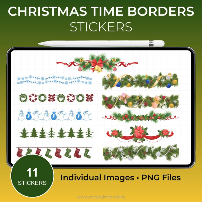 Christmas Time Borders Stickers