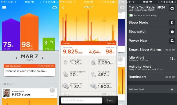 Jawbone'un UP24'le birlikte çalışan uygulamasının ekran görüntüsü de bu şekil.