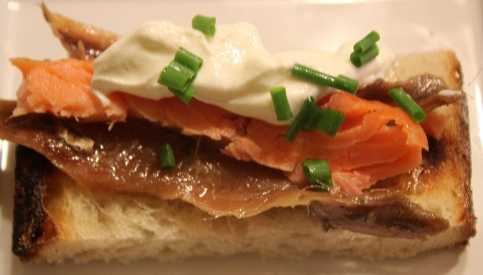 Anchovy and Smoked Salmon Toasts