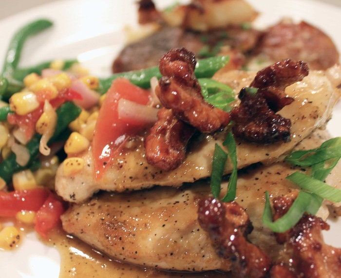 Pan-Seared Lemon Chicken with Ginger Honey Sauce and Ginger Honey Walnuts