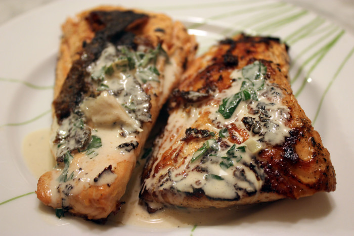 Bronzed Alaska Salmon in a Basil-Wine Sauce Using, Yes, Frozen Fish