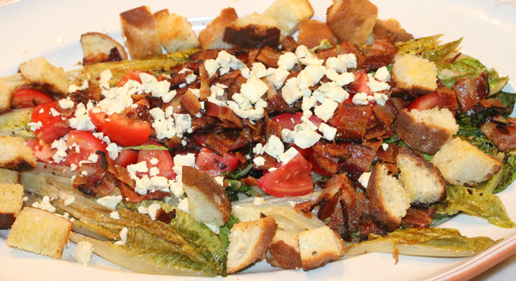 Grilled Hearts of Romaine Salad with Bacon and Cheese