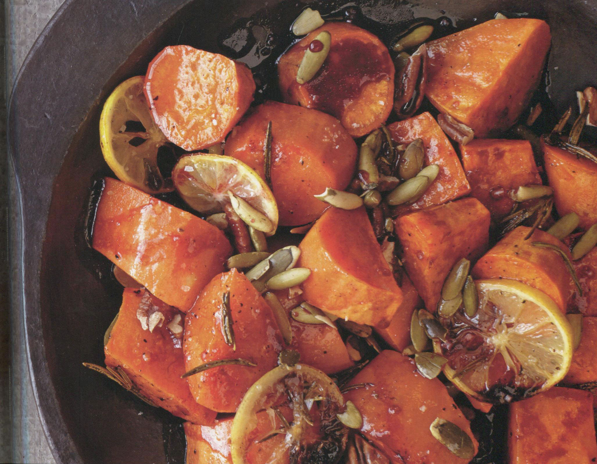 Pomegranate-Ginger Sweet Potatoes with Pecans and Pumpkin Seeds