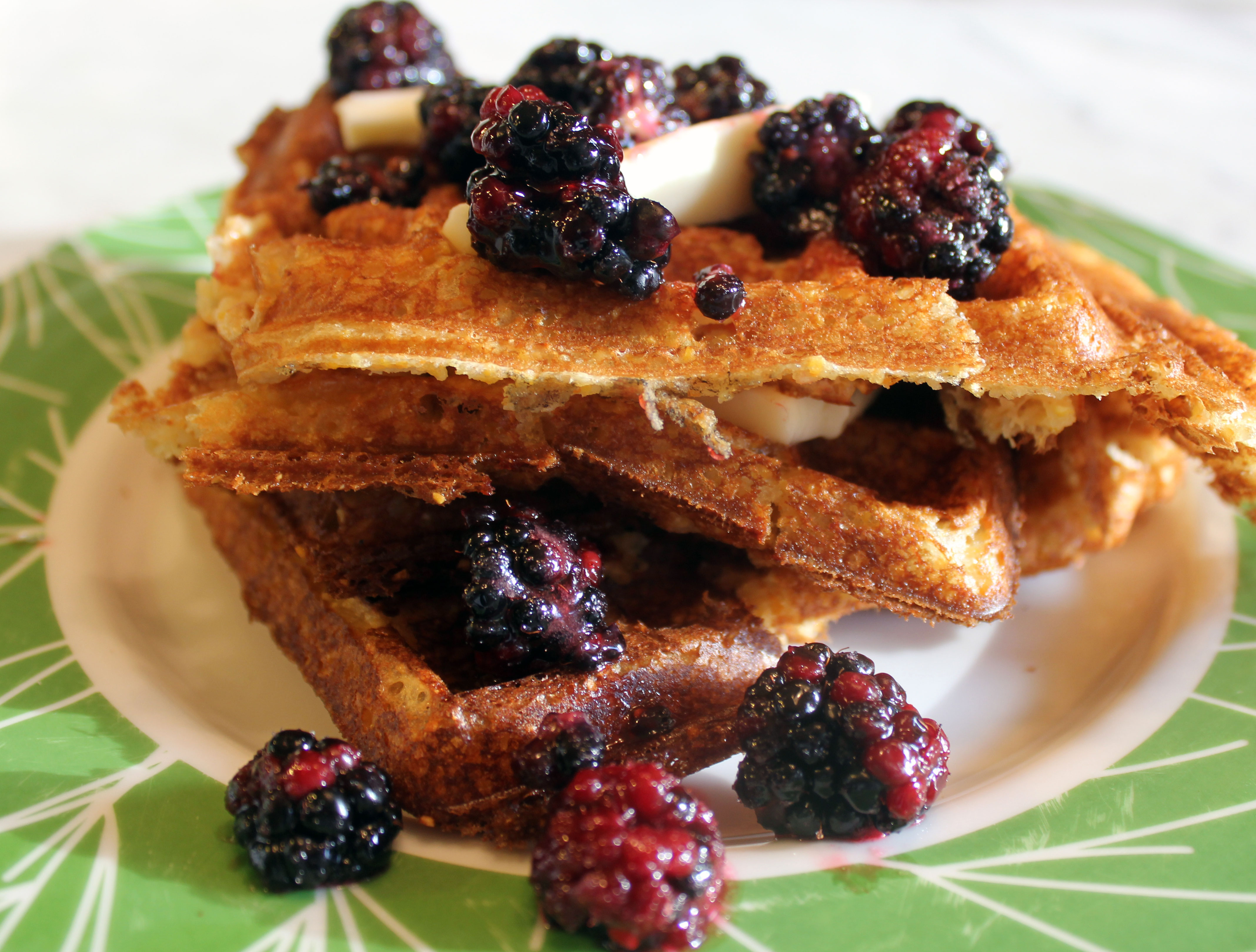 TBT Recipe: Crispy Cornmeal Waffles with Buttermilk and Maple Syrup
