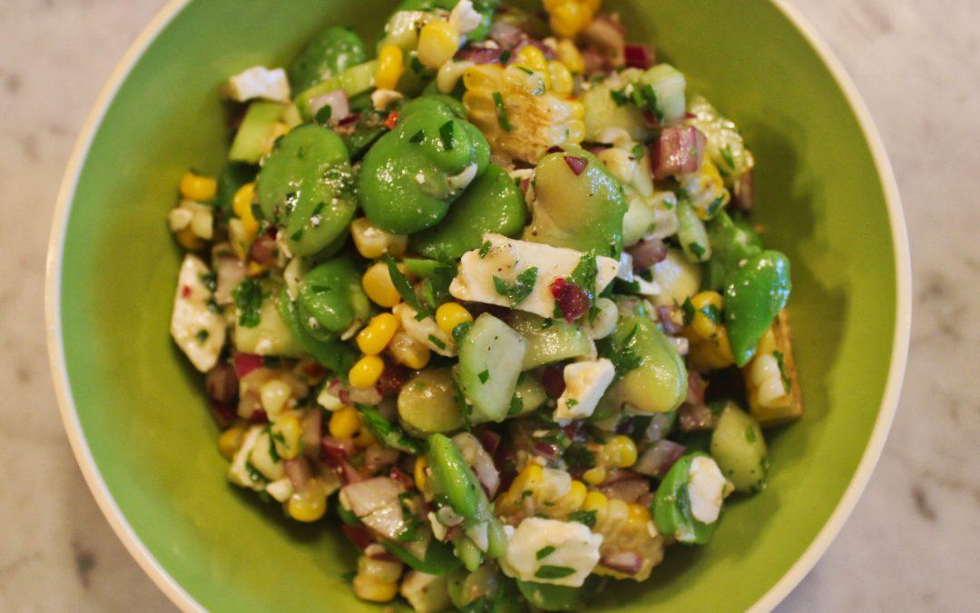 Fava Bean Salad with Roasted Garlic Vinaigrette from Martha Stewart