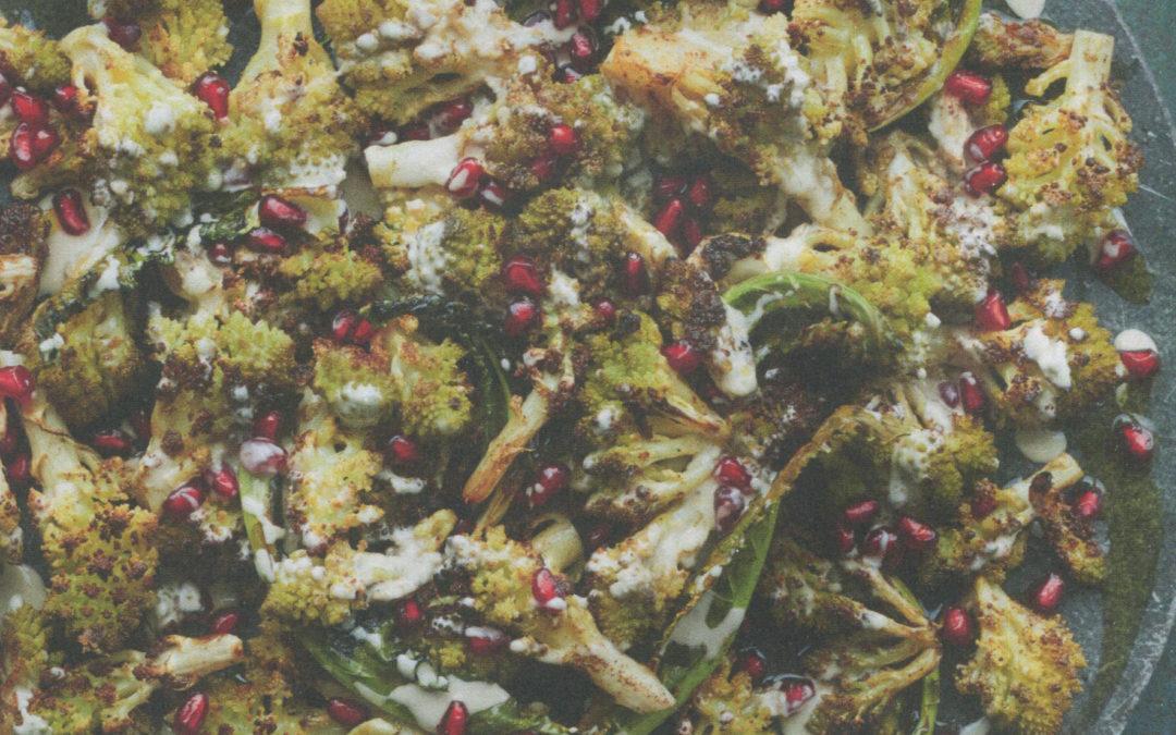 Roasted Romanesco Cauliflower with Tahini and Pomegranates from Zaitoun by Yasmin Khan