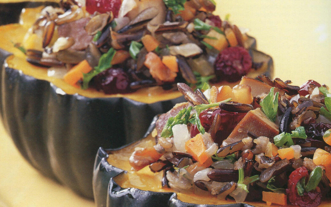 Thanksgiving Recipe: Acorn Squash Stuffed with Wild Rice, Cranberries, Walnuts and Hickory-Based Tofu
