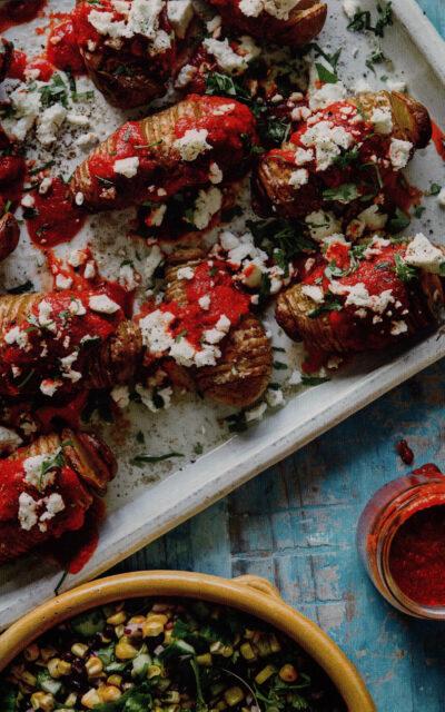 Hasselbeck Potatoes with Peri Peri Dressing & Feta