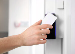 Outreached hand with card access control