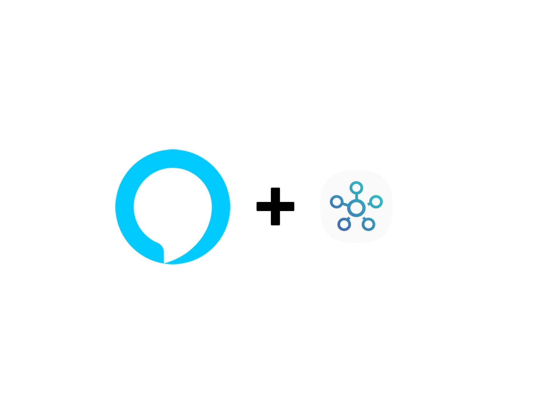 Alexa Logo, Plus symbol, and SmartThings Logo on White Background