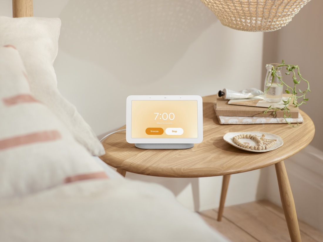The Nest Hub 2nd Generation on the Nightstand activating the Sunrise Alarm