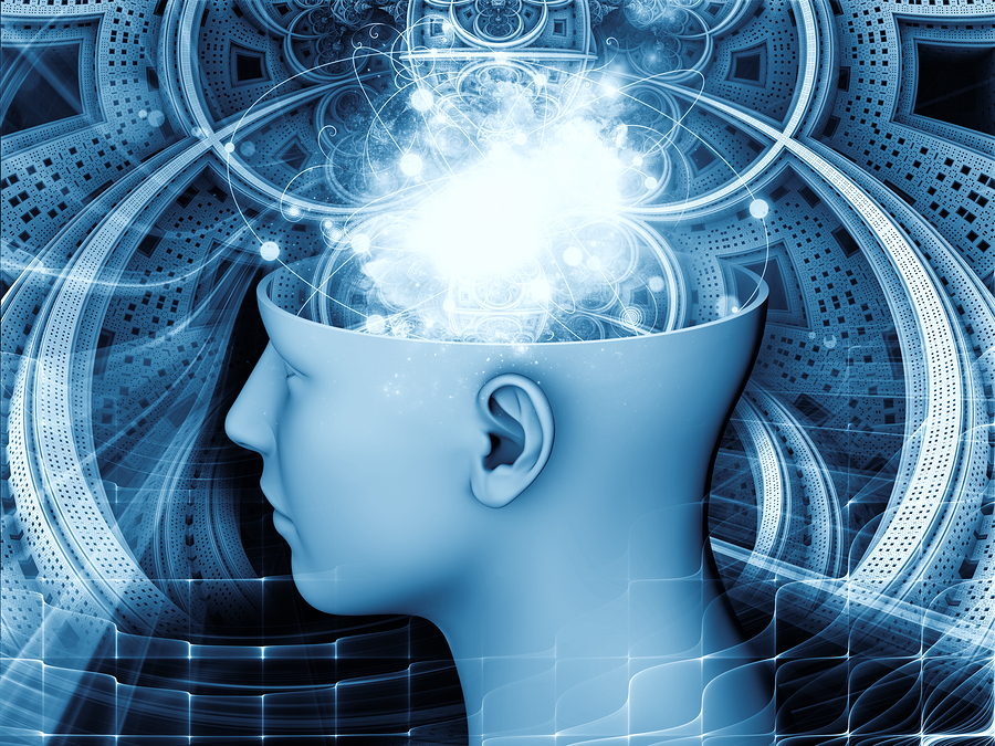 Backdrop composed of human head and symbolic elements and suitable for use in the projects on human mind consciousness imagination science and creativity