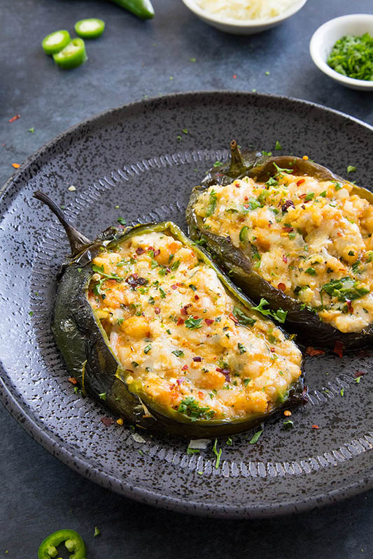 25 delicious ways to spice up National Pepper Month l cajun shrimp stuffed poblano peppers